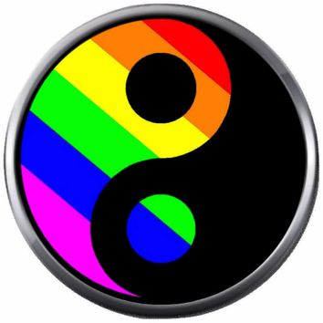 Rainbow Yin and Yang Peace Gay Lesbian Transgender Pride LGBTQ 18MM - 20MM Snap Jewelry Charm