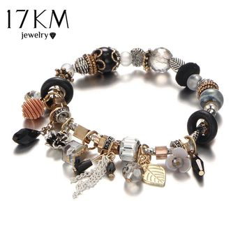 17KM Vintage Boho Jewelry Flower Tassel Charm Bracelets & Bangles For Women Fashion Femme Beads Crystal DIY Love Bracelet Bijoux