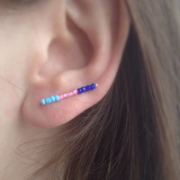 Delicate Bar Earrings, Sterling Silver Ear Pin Earrings, Colourful Ear Climber, Modern Ear Cuff Earrings, Royal Blue, Pink, Blue earrings