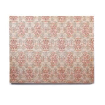 "Carolyn Greifeld ""Damask Splatter"" Pink Gray Birchwood Wall Art"