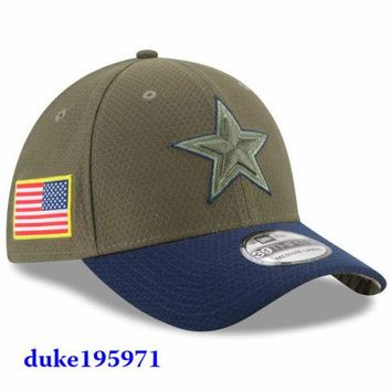 New Era 2017 NFL Salute To Service Dallas Cowboys Hat Cap 39THIRTY Flex LIMITED
