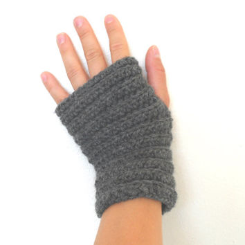 Gray Arm Warmers, Fingerless Gloves, Grey Arm Warmers, Crochet Wristlets, Crochet Wrist Warmers