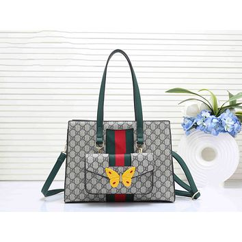 Gucci Trending Women Leather Butterfly Tote Handbag Zipper Shoulder Bag Set Two Piece I-RF-PJ