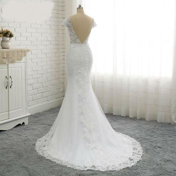Short Sleeve Backless Embroidery Lace Mermaid Wedding Dress Court Train Custom Pearls Beads Elegant Wedding Gown