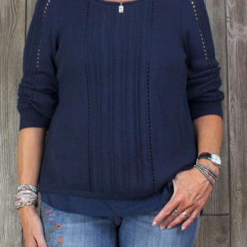 Cute New Lucky Brand L size Sweater Top Navy Blue Layered Womens $89
