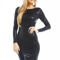 Black Shiny Snakeskin Long Sleeve Bodycon Dress