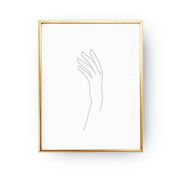 Female Hand Print, Minimal Art, Simple Fashion, Woman Art, Female Body, Black And White, Sketch Art, Single Line, Minimalist Woman Print