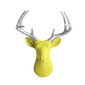 The Virginia | Large Deer Head | Faux Taxidermy | Yellow + Silver Glitter Antlers Resin