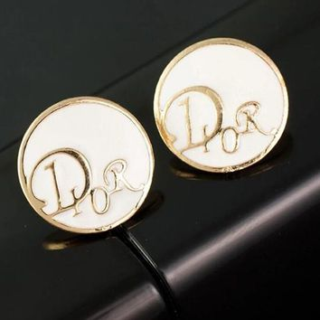 Dior Popular Women Easy To Match Simple Round Earrings