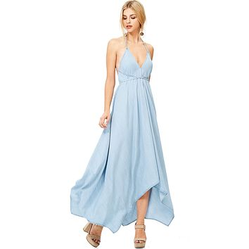 Venice Chambray Halter Dress