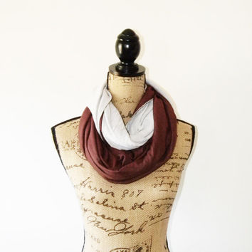 Rust and Cream Reversible infinity Scarf/ Nursing Shawl/ Nursing Cover/ Jersey Shrug/ New mom Gift