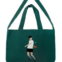 Ping Pong Boy Big Canvas Totes