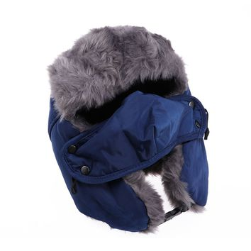 Unisex Winter Trooper Trapper Hat Hunting Hat Ushanka Ear Flap Chin Strap and Windproof Mask Russian Style Winter Ear Flap Hat for Men Women