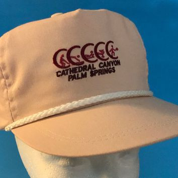 Vtg Cathedral Canyon PALM SPRINGS / Golf and Tennis Club Cap / Pale Pink Dark Red Embroidery Logo / White Rope Trim / Baseball Trucker Hat