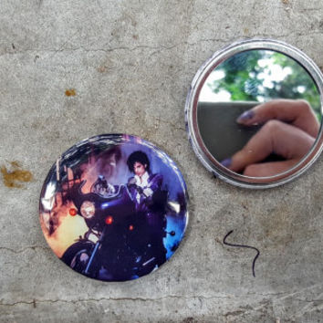 Prince Purple Rain 80s Movie 2.25 inch 58MM purse pocket hand button mirror