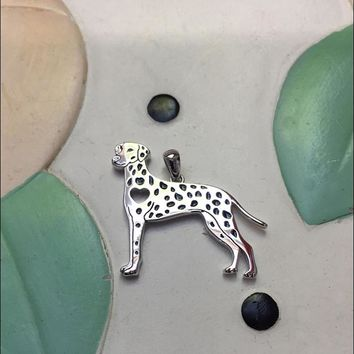 Dalmatian With Heart Cutout Sterling Silver Charm