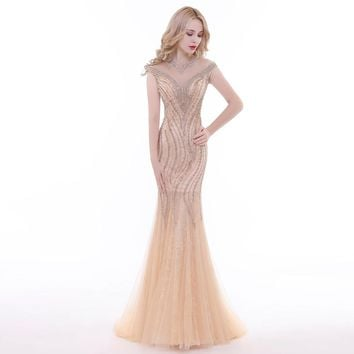 New Arrivals Evening Dresses Lace with Full Cap Sleeve Mermaid Party Dress Prom Gowns for Woman