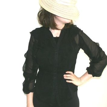 Black See Through Ruffle Blouse, Sexy Steampunk ruffle Shirt, Victorian  style top, Collar Shirt Long Ruffle Sleeve, Size S