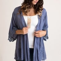 Keeping It Cool Blue Lace Cardigan