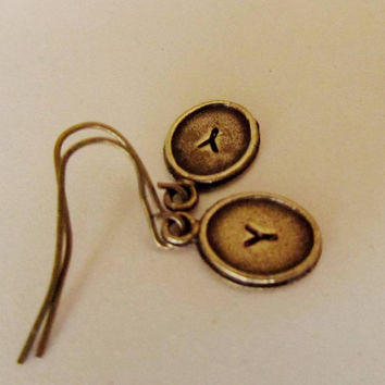 Personalized Bronze Tiny  Earrings, Initials A-Z, Stamped with the Letter of your choice. Great Gift.