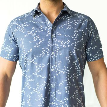 Blue Flying Birds Print Short Sleeve Shirt - Norris