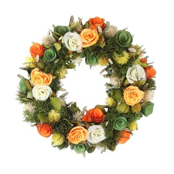 """12.5"""" Peach  Orange  Green Flowers with Moss and Twig Artificial Spring Wreath"""