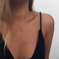 Fashion Gold beaded body  women long necklace chocker statement choker