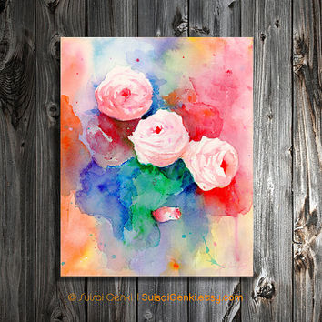 Timeless, Rose, Pink Rose, 8x10 , Watercolor Painting by Suisai Genki, Colorful Rose, Wall Art, Pink, Red, Blue, Purple, Green