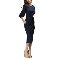 Womens Bodycon Short Sleeve Office OL Work Business Party Dress S-XLSM6