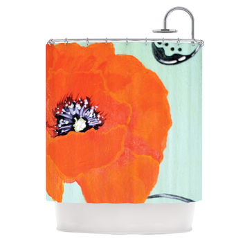 "Christen Treat ""Vintage Poppy"" Orange Flower Shower Curtain"