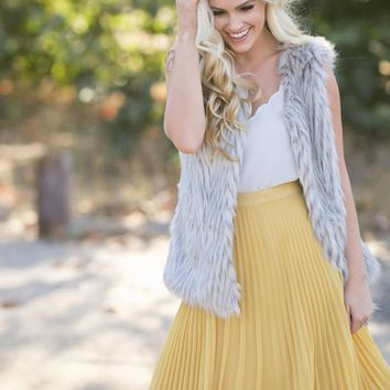 Beverly Grey Faux Fur Vest