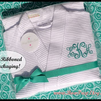 Personalized Layered Initial and Name Robe - Bridesmaids Wrap Style Waffle Weave bridal spa day customized aqua tiffany blue gray silver