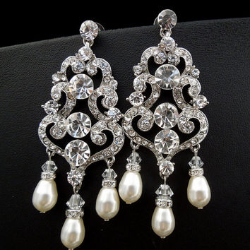Bridal Rhinestone Earrings Ivory or White Pearls,Rhinestone Earrings,Wedding Chandelier Earrings,Statement Bridal Earrings,Teardrop,DIANE