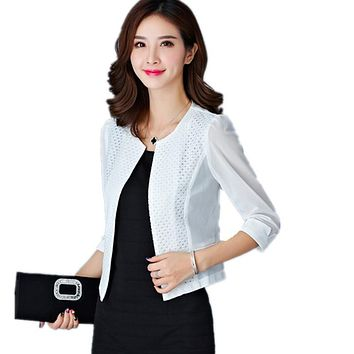 2017 Women's Jacket Blazer Feminino Large Size Lace Jackets Female 3/4 Sleeve Gauze Patchwork Chiffon Cardigan Jacket Y214