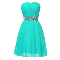 Fashion Plaza Chiffon Strapless Rheinstones Evening Cocktail Crystal Dress D0123 (US12, Lake Blue)