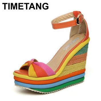 TIMETANG Platform Sandal 2017 Summer Ladies Shoes Bohemia Rainbow Thick Sole Sponge High Heel Wedge Open Toe Women Sandals