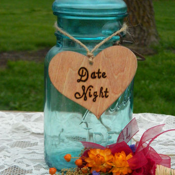 Wooden Date Night Heart for Mason Jar or Other Container - Wedding Guest Book Idea