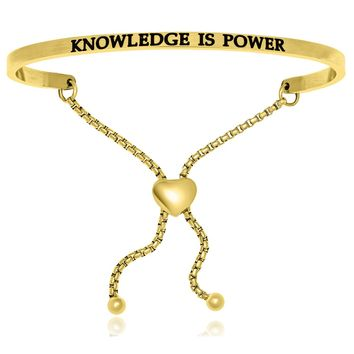 Yellow Stainless Steel Knowledge Is Power Adjustable Bracelet