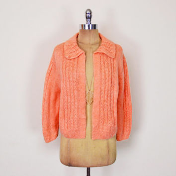 Vintage 70s Orange Hand Knit Cardigan Open Knit Sweater Mohair Cardigan Collar 50s Cardigan 60s Cardigan 70s Cardigan Mod Mad Men Hippie M L
