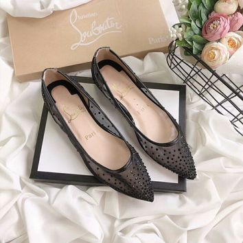 """Gucci"" Temperament Fashion Perspective Rhinestone Shallow Mouth Flats Shoes Women Pointed Toe Single Shoes"