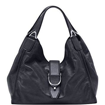 Gucci Stirrup Black Washed Soft Calf Leather Medium Hobo Bag 296856 1000