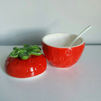 Sugar Bowl with Lid, Ceramic Sugar Bowl, Strawberry Kitchen, Sugar Dish, Strawberry Decor, Sugar Bowl with Spoon, Strawberry Bowl Sugar Bowl