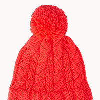 Cable Knit Pompom Beanie
