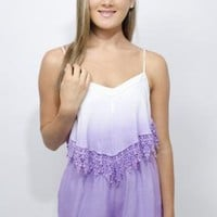 Purple Ombre Sleeveless Playsuit with Crochet Hem Detail