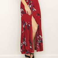 Red Floral Button Long Skirts