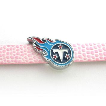 20Pcs Tennessee Titans Slide Charms 8mm Alloy With Enamel Football Team Slide Charms Fit Pet Collar DIY Necklace & Bracelet