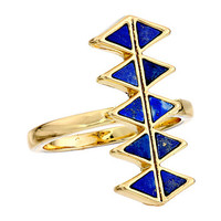 House of Harlow 1960 Reflector Bar Ring Gold Tone/Lapis - Zappos.com Free Shipping BOTH Ways