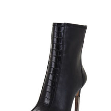 Black BCBG Jase Peep-Toe Zip-Up Bootie