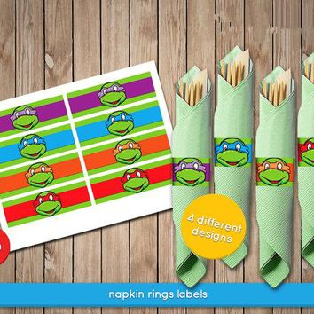 TMNT Napkin Wrappers - Teenage Mutant Ninja Turtles Napkin Ring Labels Baby Shower Birthday Party Decorations Kids Supplies