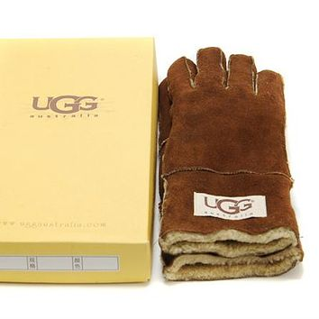 UGG Gloves Winter Woman Men Mittens Velvet Fur Gloves